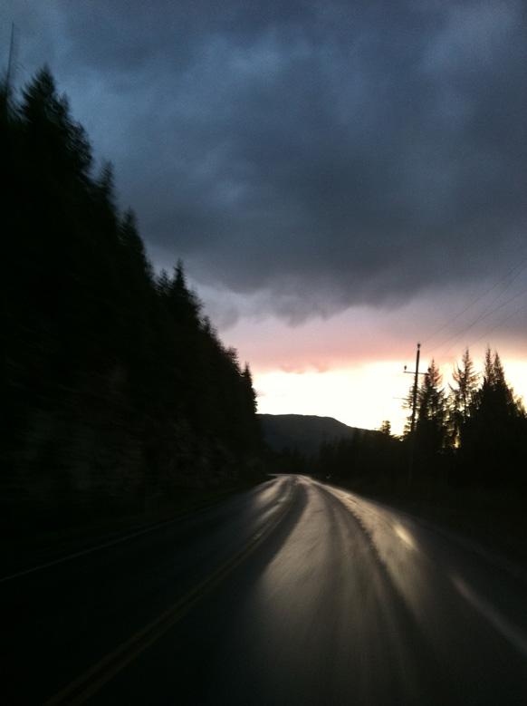 Coquihalla highway at sunset