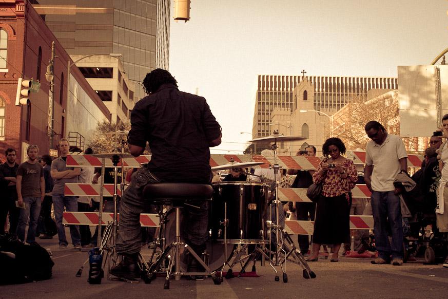Drummin' on Blocked Off Streets