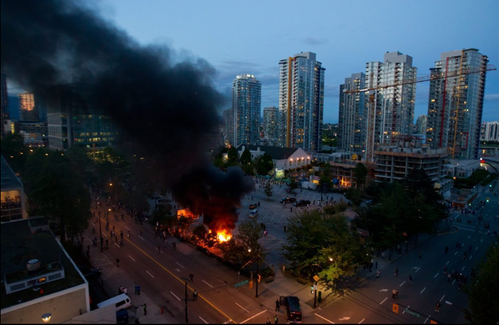 Our building was the one to the right of the yellow stripe in the background. Three blocks from the Vancouver riot.