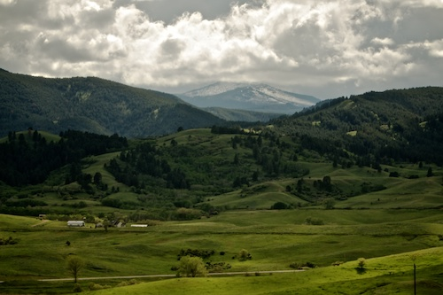 Rocky Mountains Peeking Through in Wyoming